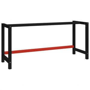 vidaXL Work Bench Frame Metal 175x57x79 cm Black and Red