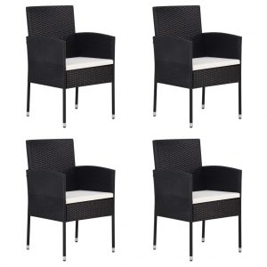 vidaXL Garden Chairs 4 pcs Poly Rattan Black
