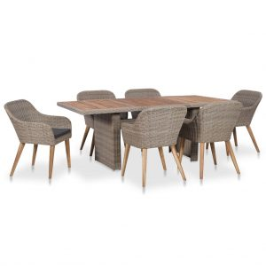 vidaXL 7 Piece Outdoor Dining Set with Cushions Poly Rattan