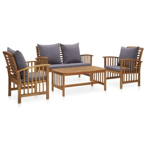 vidaXL 4 Piece Garden Lounge Set with Cushions Solid Acacia Wood (310258+310264)