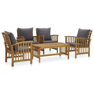 vidaXL 5 Piece Garden Lounge Set with Cushions Solid Acacia Wood (310255+2×310258)