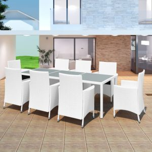 vidaXL 9 Piece Outdoor Dining Set Poly Rattan Cream White