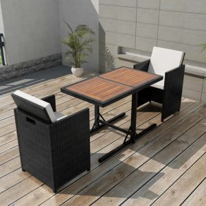 vidaXL 3 Piece Bistro Set with Cushions Poly Rattan Black