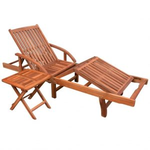 vidaXL Sun Lounger with Table Solid Acacia Wood