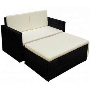 vidaXL 2 Piece Garden Lounge Set with Cushions Poly Rattan Black