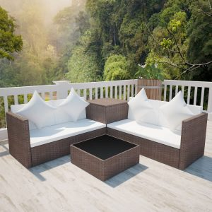 vidaXL 4 Piece Garden Lounge Set with Cushions Poly Rattan Brown