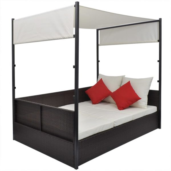 Garden Bed with Canopy Brown 190×130 cm Poly Rattan