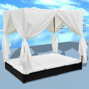 vidaXL Outdoor Lounge Bed with Curtains Poly Rattan Black