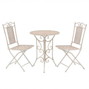 vidaXL 3 Piece Bistro Set Steel White