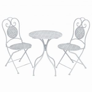 vidaXL 3 Piece Bistro Set Steel Greyish White