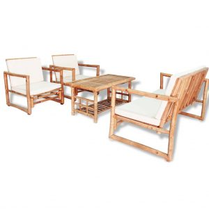 vidaXL 4 Piece Garden Lounge Set with Cushions Bamboo
