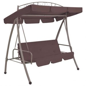 43242 vidaXL Outdoor Convertible Swing Bench with Canopy Coffee