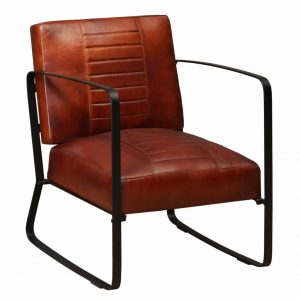 vidaXL Lounge Chair Brown Genuine Leather