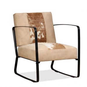 vidaXL Lounge Chair Cream Genuine Goatskin and Canvas