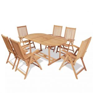 vidaXL 7 Piece Outdoor Dining Set with Folding Chairs Solid Teak Wood