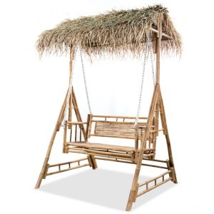 vidaXL 2-Seater Swing Bench with Palm Leaves Bamboo 202 cm