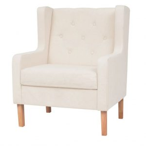 vidaXL Armchair Cream White Fabric