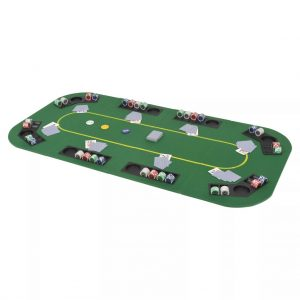 vidaXL 8-Player Folding Poker Tabletop 4 Fold Rectangular Green