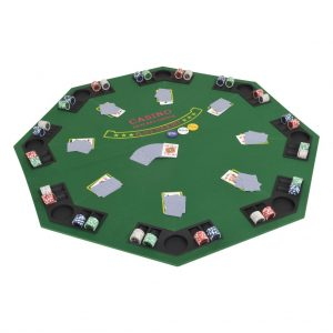 vidaXL 8-Player Folding Poker Tabletop 2 Fold Octagonal Green