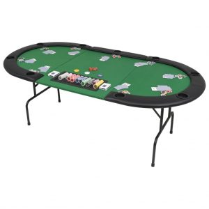 vidaXL 9-Player Folding Poker Table 3 Fold Oval Green