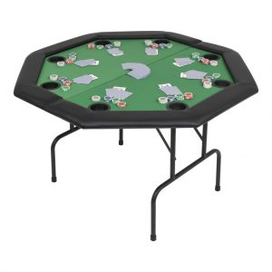 vidaXL 8-Player Folding Poker Table 2 Fold Octagonal Green