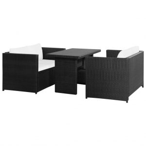 vidaXL 3 Piece Garden Lounge Set with Cushions Poly Rattan Black