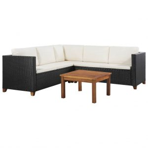 vidaXL 4 Piece Garden Lounge Set with Cushions Poly Rattan Black