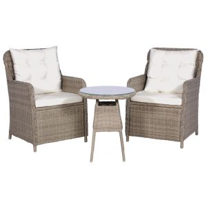vidaXL 3 Piece Bistro Set with Cushions and Pillows Poly Rattan Brown