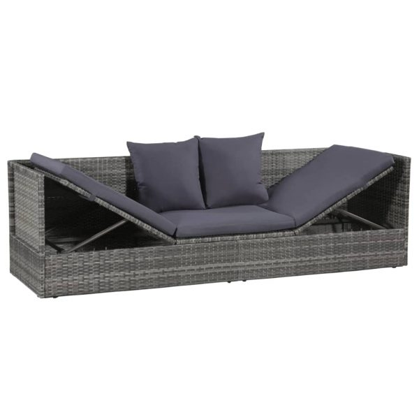 43959  Outdoor Sunlounger Poly Rattan 200x60x58 cm Grey – Untranslated