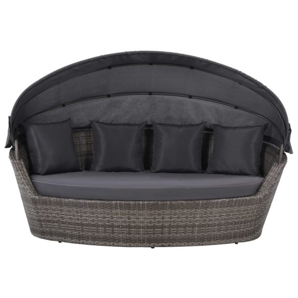 Garden Bed with Canopy Grey 200×120 cm Poly Rattan