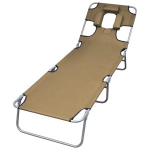 vidaXL Foldable Sunlounger with Head Cushion Adjustable Backrest Taupe