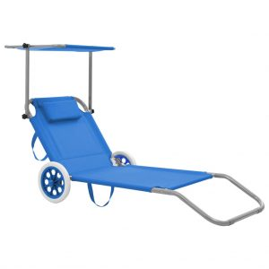 vidaXL Folding Sun Lounger with Canopy and Wheels Steel Blue