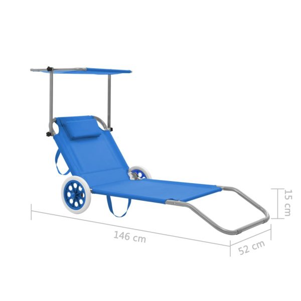 Folding Sun Lounger with Canopy and Wheels Steel Blue