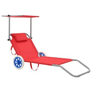 vidaXL Folding Sun Lounger with Canopy and Wheels Steel Red
