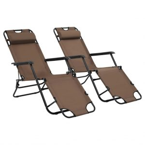 vidaXL Folding Sun Loungers 2 pcs with Footrests Steel Brown