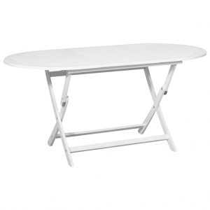 vidaXL Garden Table White 160x85x75 cm Solid Acacia Wood