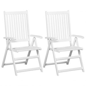 vidaXL Folding Dining Chairs 2 pcs Solid Acacia Wood White