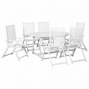 vidaXL 7 Piece Outdoor Dining Set Wood White with Extendable Table