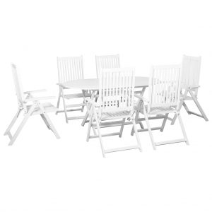 vidaXL 7 Piece Outdoor Dining Set Solid Acacia Wood White