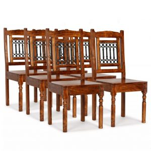 vidaXL Dining Chairs 6 pcs Solid Wood with Sheesham Finish Classic