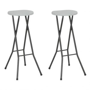 vidaXL Folding Bar Stools 2 pcs HDPE and Steel White