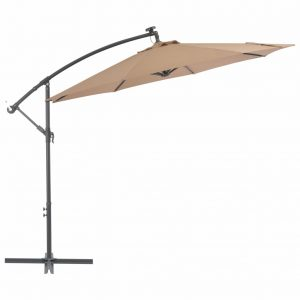 vidaXL Cantilever Umbrella with LED Lights and Steel Pole 300 cm Taupe