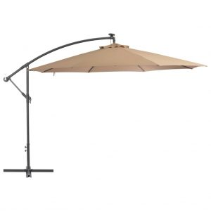 vidaXL Cantilever Umbrella with LED Lights and Metal Pole 350 cm Taupe