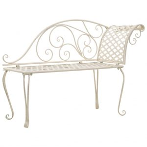 vidaXL Garden Chaise Lounge 128 cm Metal Antique White