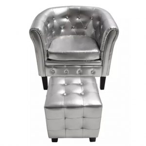 vidaXL Tub Chair with Footstool Silver Faux Leather