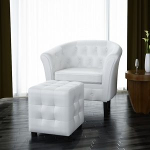 vidaXL Tub Chair with Footstool White Faux Leather