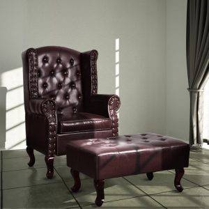 vidaXL Armchair with Footstool Dark Brown Faux Leather