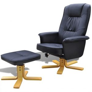 vidaXL Armchair with Footrest Black Faux Leather
