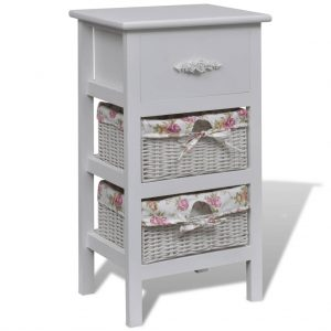 vidaXL Cabinet with 1 Drawer and 2 Baskets White Wood