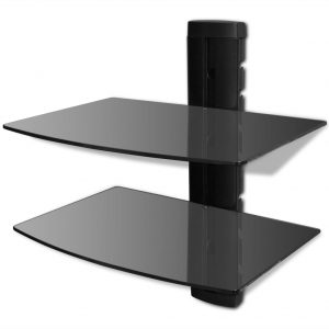 vidaXL 2-tier Wall Mounted Glass DVD Shelf Black
